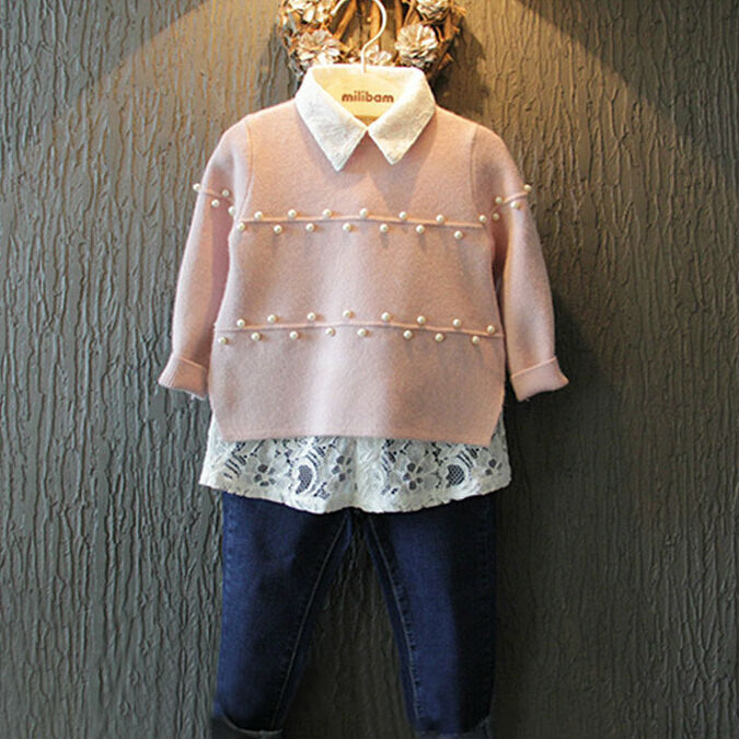Free Shipping New Fashion Baby Girls Pink Beading Sweater with White Lace Shirt Children Pearls Sweater Pullovers Knitted Tops<br><br>Aliexpress