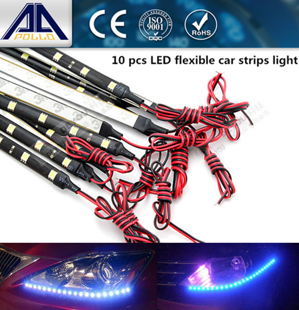 Car Styling 10pcsx30cm super white blue red waterproof flexible Car Light 15SMD LED Daytime Running Lights Soft Strips(China (Mainland))