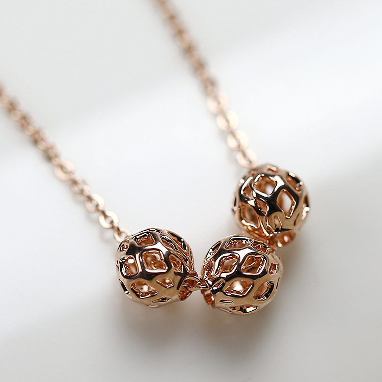 Fashion hollow three ball necklace Chain 18K Rose Gold Plated Pendant Necklaces women - Sycamore Trade store