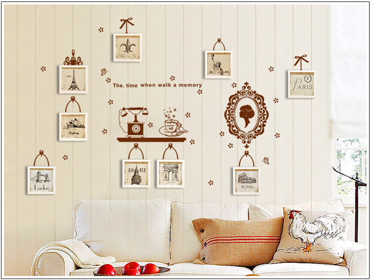 Free shipping 3d diy photo tree pvc wall decals adhesive for Diy photographic mural