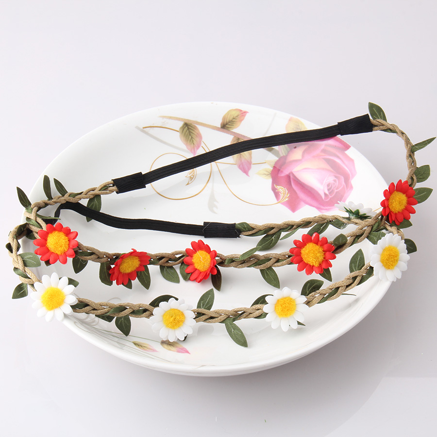 Hot Sale Flower Crown Headband Beautiful Floral Accessories For Girls Bohemian Style Wreath Wedding Garland For Women Hair Bands(China (Mainland))