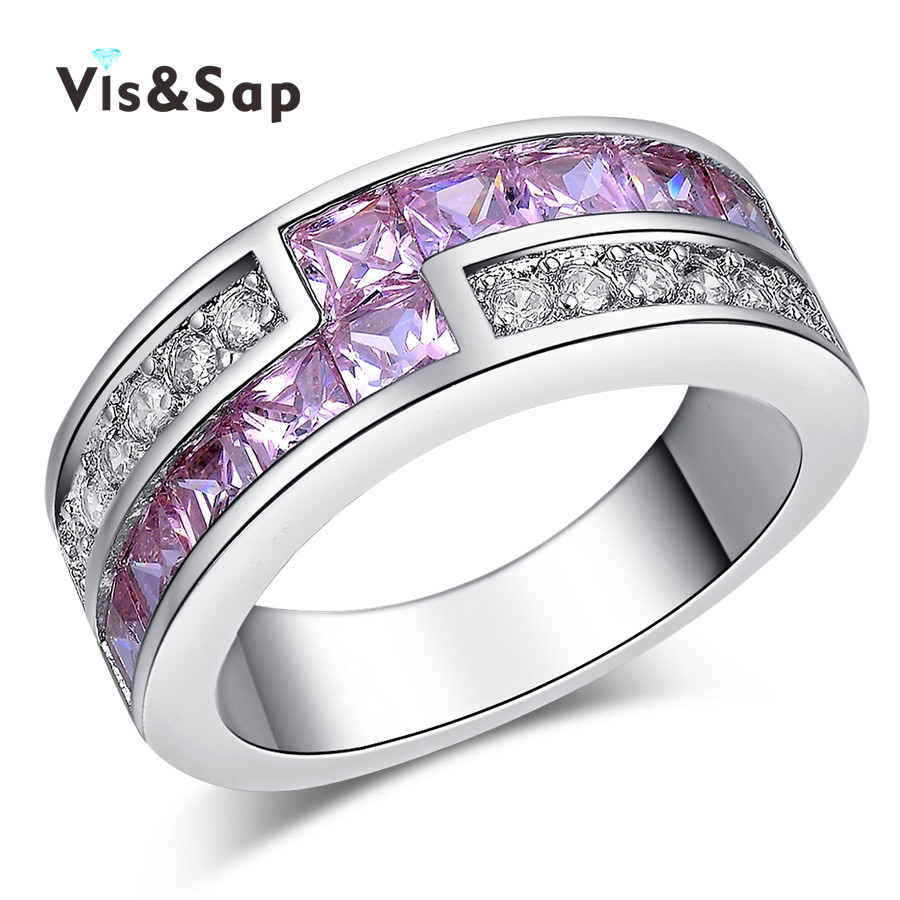 White Gold plated ring pink stone cz diamond punk bands Party Gifts Vintage Wedding Rings For Women Jewelry Wholesale VSR163(China (Mainland))