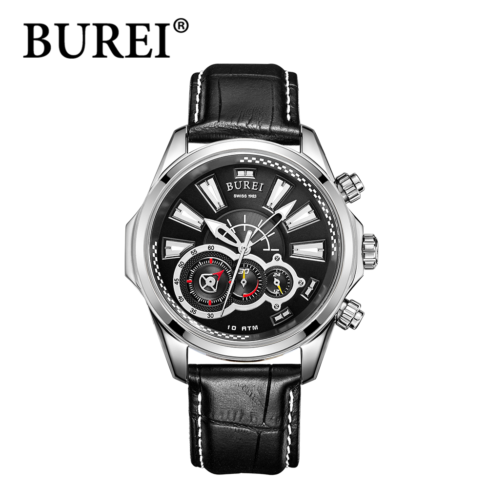 BUREI leather strap stainless steel waterproof Multifunction wristwatch silver analog small seconds dial sapphire crystal watch(China (Mainland))