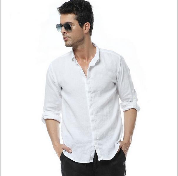 New arrival men 39 s high quality white 100 linen long for White linen dress shirt