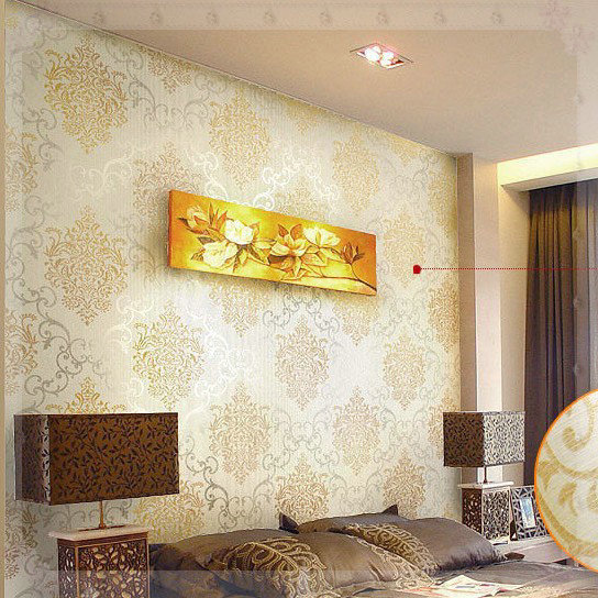 Luxury Gold damask Wallpaper Modern wall paper Beige Non-woven Metallic damask wallpaper roll for living room bedroom electric m(China (Mainland))