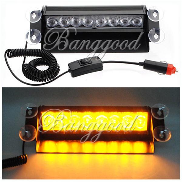 8 LED Car Truck Dash Strobe Warning Light Flash Emergency Lamp Amber Yellow 3 Mode DC12V(China (Mainland))