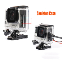 Go Pro Accessories Skeleton Protective Housing Case Open Side Protector Shell Cover with Lens for Gopro Hero 4 3+  for FPV HDMI