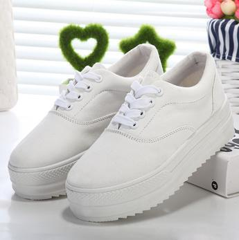 2015 New Autumn Sports Shoes Wedge Sneakers Casual Platform Sneakers White Black Colors Canvas Women's Flats Platform Shoes(China (Mainland))