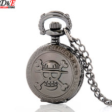 New Style 25mm Black Skeleton Steampunk Necklace Quartz Pocket Watch Skull Pendant Free Shipping P976