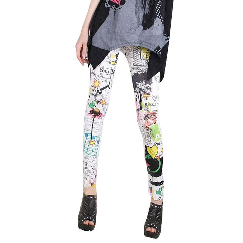 Funky Leggings Women Polyester Slim Graffiti Stretchy Print Leggins Pencil Skinny Pants Graffiti Legging Tousers 1STL(China (Mainland))