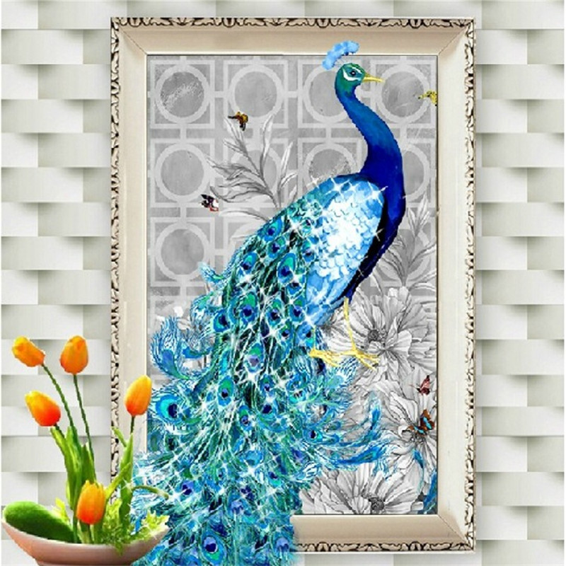 5D diamond embroidery diy diamond Painting peacock pictures diamond mosaic Christmas gift diamond picture home decor new year(China (Mainland))