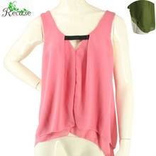 Plus Size Sexy Ruffle Chiffon Women Blouses 2016 Casual Elastic Neck Double Layer Female Summer Tank Tops NZ-BS-12