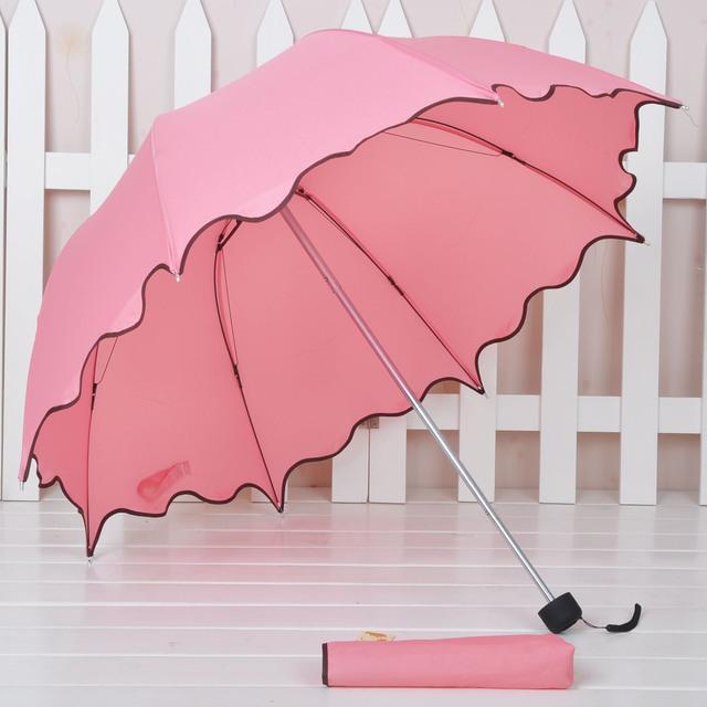 Manual Princess ruffle  folding scalloped sun protection manual umbrella,Free shipping!!!