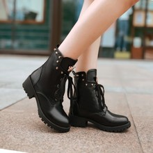 Boots PU new 31 32 33 48 47 46 45 44 43 40 41 Woman's shoes high heel 4CM Thick EUR Size 30-49 - Emma's Fashion Women store