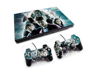 Sticker for PS2 console with 2 controllers, free shipping!!! OEM & Mixed designs are available.