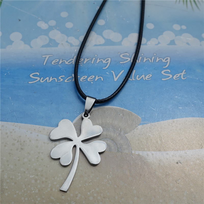 10pcs/lot leaf Clover Pendant Jewelry Top Quality Stainless Steel Silver Grass Men Necklace with black rope(China (Mainland))