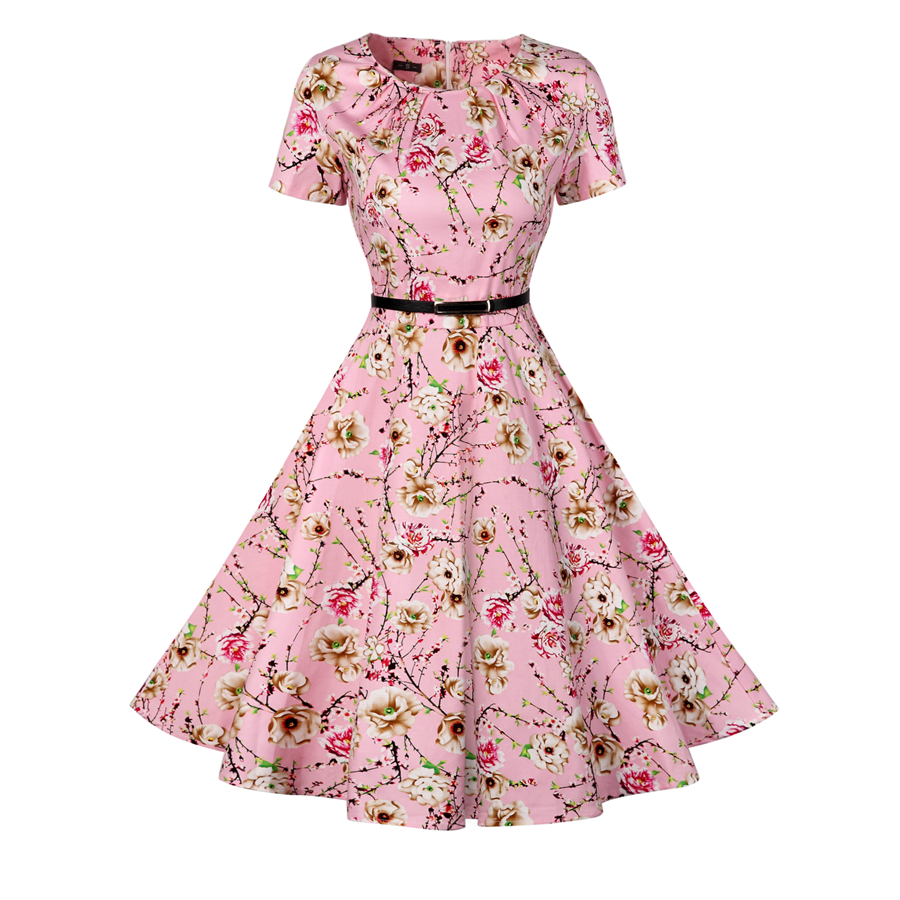 Vintage Tunic Dress Women Short Sleeve 1950s 40s Retro Audrey Hepburn Rockabilly Dress Plus Size Floral Print Flare Swing Dress
