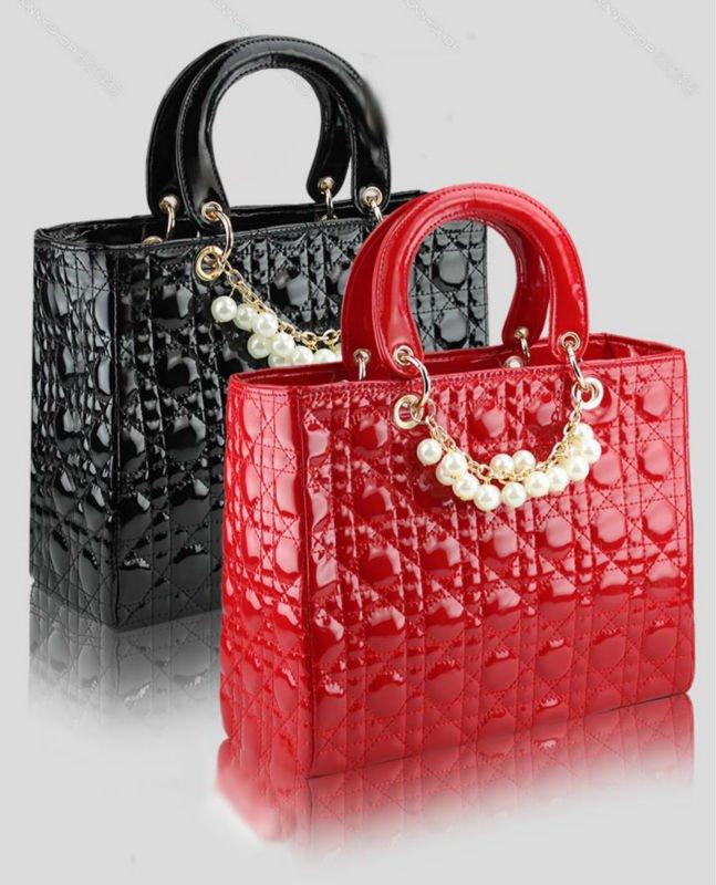 New arrival!! Fashion Super Star Diamond Lattice Pearl Chain Patent Le