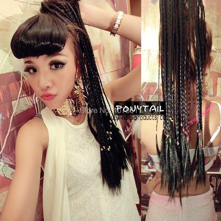Free Shipping New Arrival Beatiful Ladies Super Long Drawstring Ponytail Wig Synthetic Hair Weave Wig  Braid ponytail promotion<br><br>Aliexpress