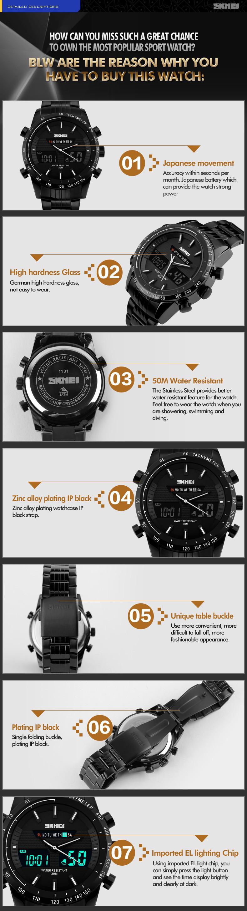 Роскошные Мужчины Спорт Военные Часы Моды Случайные Платье Наручные Часы 30 м водонепроницаемый 2 Часовой пояс Цифровые Кварцевые СВЕТОДИОДНЫЕ Часы