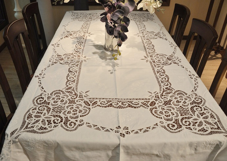 """Extra Long Old Fashion(72x108"""") Battenburg Lace Embroidery Cotton Table cloths.NO.419(China (Mainland))"""