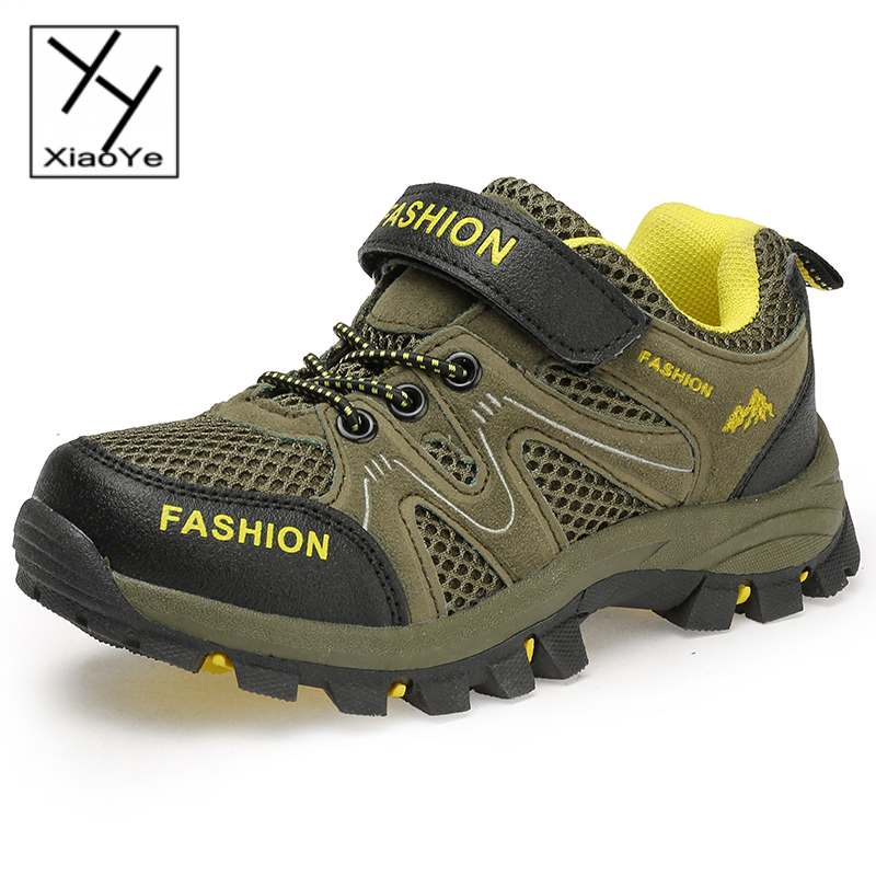 Children Boys Kids Outdoor Sports Shoes Sneakers Running Climbing Walking Casual Velcro Strape Breathable Mesh + Suede