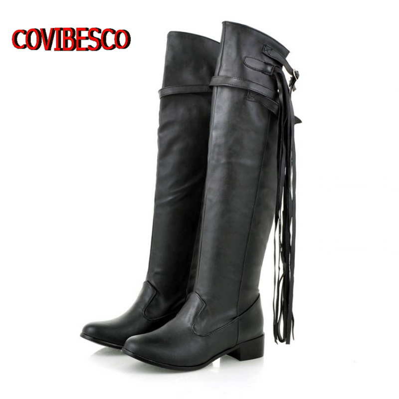 Women buckle strap knee high boots soft leather fashion ladies autumn winter low heels long tassels shoes woman plus size - COVIBESCO Ltd's store