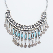 2015 new fine jewelry fashion flower long Imitation rhinestone necklace tassel vintage ethnic bohemia silver necklace