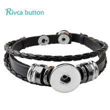 P00646 Wholesale Snap Button Bracelet&Bangles 10 color High quality leather Bracelets For Women 18mm Rivca Snap Button Jewelry(China (Mainland))