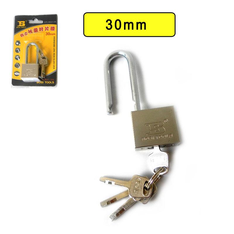 BOSI 30mm long shank brass padlock master lock with 4pc keys(China (Mainland))