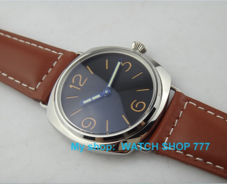 47mm PARNIS ST3600 mechanical movement hand chain men's watch Military watches Casual mens top brand luxury