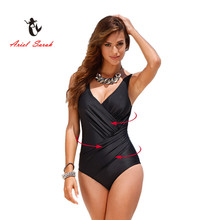 2016 One Piece Swimsuit Brazilian Bikini Set Sexy High Waist Beachwear Plus Size Swimwear Women Black Bathing Suit XXXXL BJ214