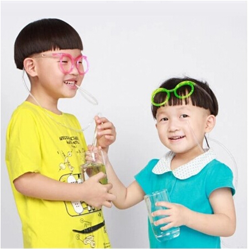 Creative DIY Straw Children's Creative Cartoon Cute Fun Wacky Glasses Straw Toys Household items Drinkware(China (Mainland))