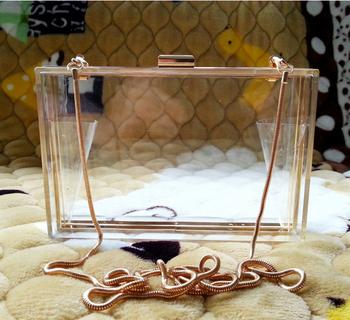 New 2015 Acrylic Transparent Women Clutch Bag Chain Luxury Brand Women Messenger Bags Evening Handbag clear woman bag