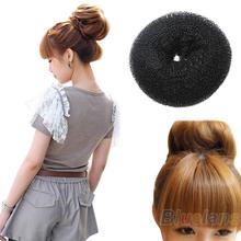 Hair Donut Bun Ring Shaper Headwear Styler Maker Brown Black Blonde Hairdressing S M  Elastic Round Nylon Wire 0BB4(China (Mainland))