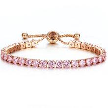 Luxury สีสัน Shining คริสตัลสร้อยข้อมือสำหรับงานแต่งงาน Gold สร้อยข้อมือ Rhinestone Charm กำไล(China)