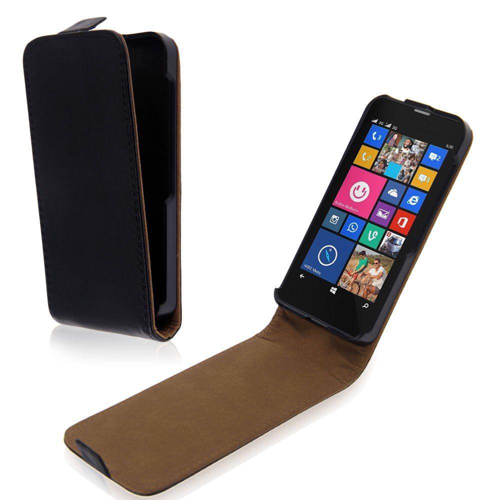 Black Leather Flip Vertical Case Cover Skin For Microsoft Nokia Lumia 430(China (Mainland))