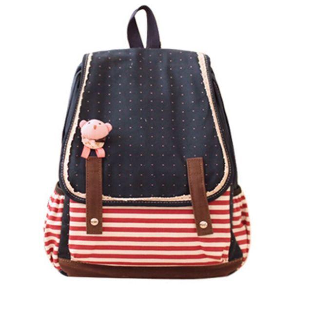 Женщины рюкзак женский опрятный стиль полосатый холст сумка школьные рюкзаки сумки ...
