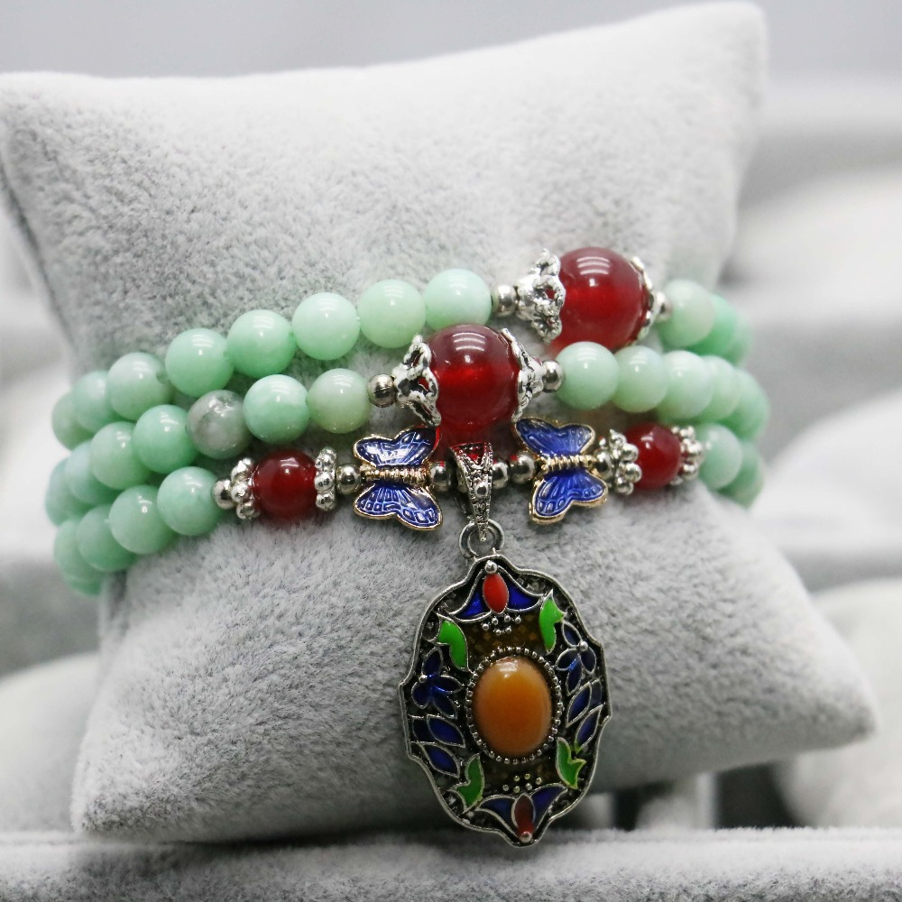 Thailand Buddha Lucky Beads Natural Stone Light Blue Emerald Bracelet Hand Chain for Women Girls Ruby Accessories Ladies(China (Mainland))