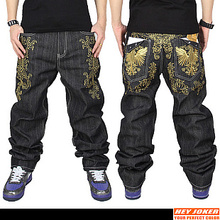 Hot selling  2013 Free shopping Men's fashion sport HIPHOP gold thread embroidery loose skateboard pants Jeans / 30- 42(China (Mainland))