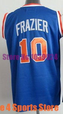 2014 NWT New York #10 Walt Frazier Jersey Throwback Royal Blue Favorite Stitched Best Quality American Basketball Jersey Shop(China (Mainland))
