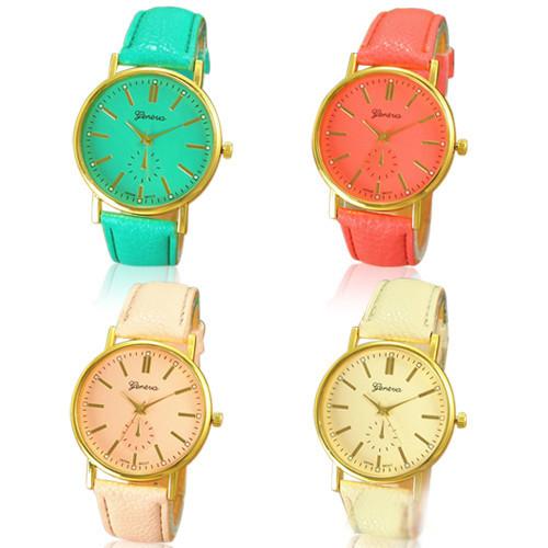 2015 Brand New Women s Fashion Geneva Roman Numeral Faux Leather Quartz Analog Wrist Watch