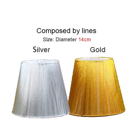 14cm Modern gold and silver chandelier lampshade, Pull line fabric wall light lamp shades, Clip ...