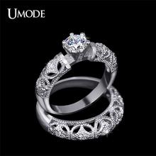 UMODE 2015 0.75 ct AAA Grade Round AAA+ CZ Diamond Fine Carving Craft Wedding Filigree Ring Set Christmas Gift UR0130(China (Mainland))