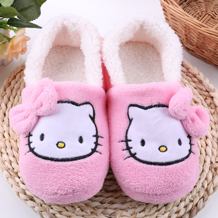 Women House Slippers 2016 hot Hello Kitty Plush Warm Home Slippers Thermal Indoor Slipper for Autumn Winter Soft Sole Shoes(China (Mainland))
