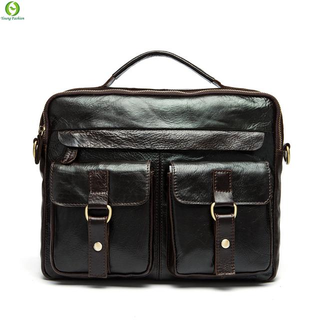 100% натуральная кожа мужчины сумка кожаный мужская сумки свободного покроя бизнес ...