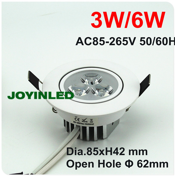 2PCS High power LED 3W 6W white Recessed AC85~265V led kitchen home bedroom  ceiling downlights<br><br>Aliexpress