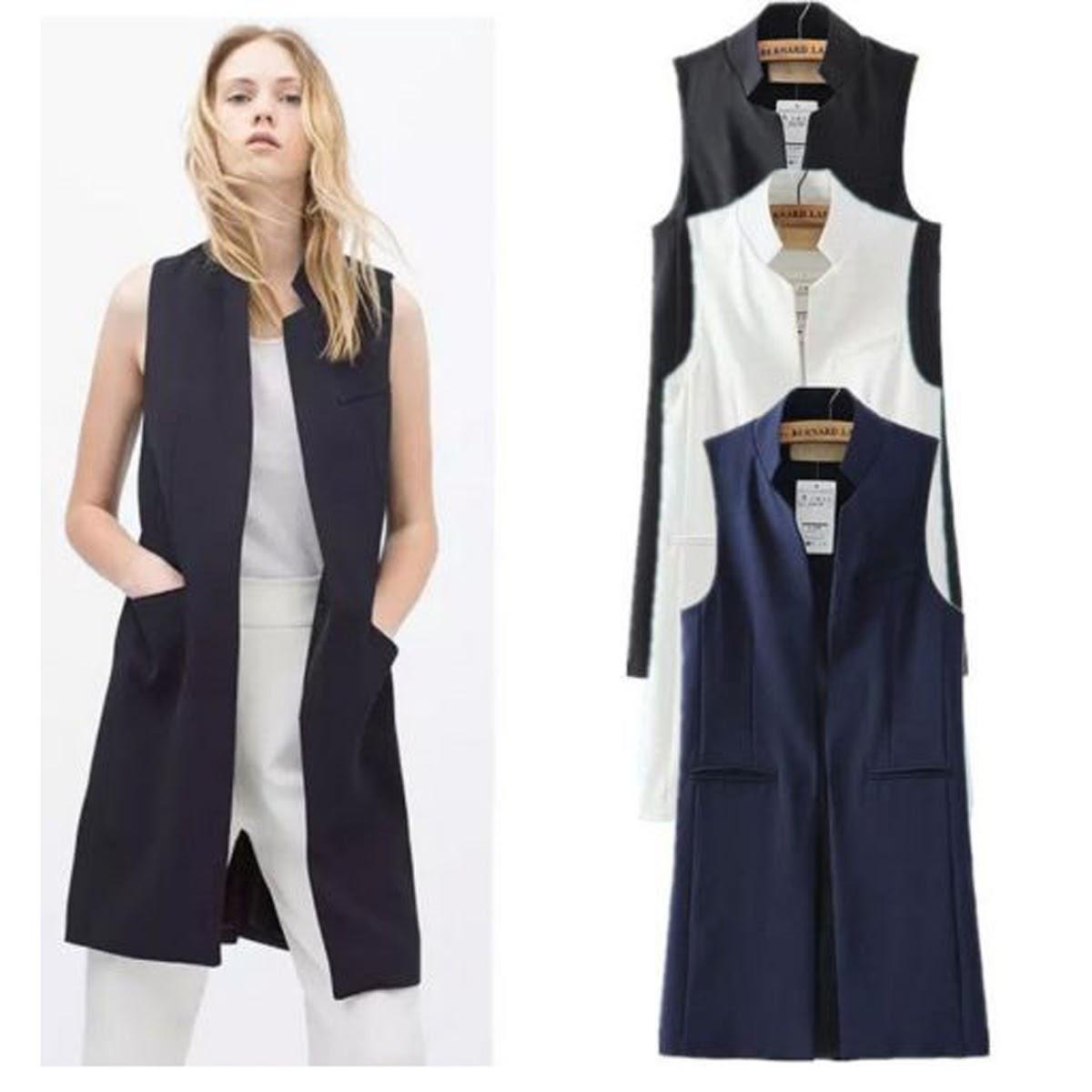 676b166b1f132a 2019 Women S Mandarin Collar Open Front Long Vest Waistcoat Cardigan Blazer  Sleeveless Jacket Outfit Women Long Business Suit Vest From Yukime