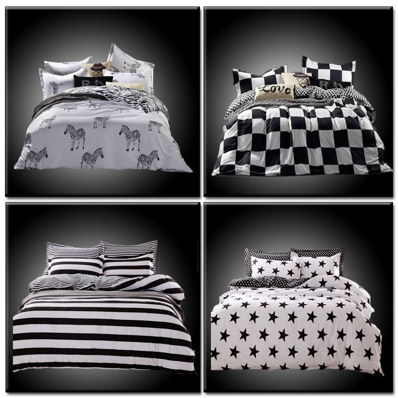Drop Ship 2016 Bedding Set in Queen Full Size Duvet Cover Bed Sheet Sets Classic Black and White Home Textile(China (Mainland))