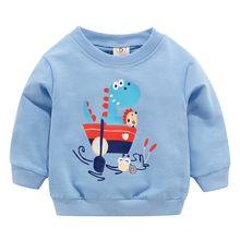Bambino appena nato Vestiti di Autunno della Molla Del Bambino Del Fumetto Del Dinosauro Felpe Blu Felpe del Ragazzo Vestiti Della Ragazza 0-3 T(China)